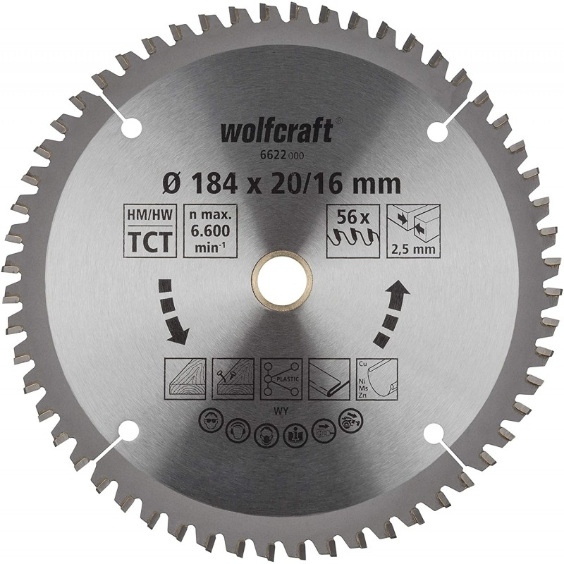 WOLFCRAFT 6622000 საჭრელი დისკი 184 x 20/16 x 56T (უნივერსალური)