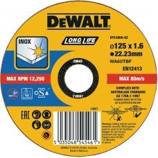 DEWALT DT43906 საჭრელი დისკი LONG LIFE 125 X 1,6 X 22.2 მმ (უჟანგავი ფოლადი)