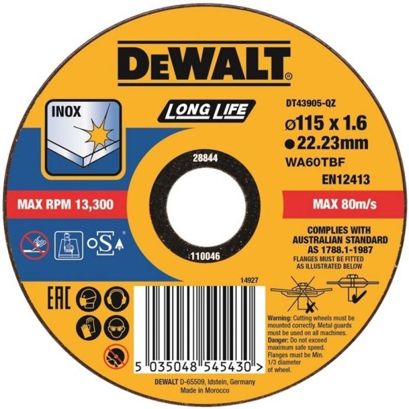 1.DEWALT DT43905 საჭრელი დისკი LONG LIFE 115 X 1,6 X 22.2 მმ (უჟანგავი ფოლადი)