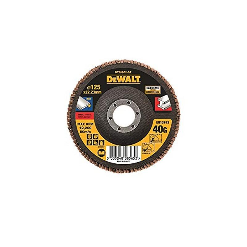 1.DEWALT DT30602 სახეხი დისკი EXTREME 125 X 22.2 მმ / G40 (უჟანგავი ფოლადი)