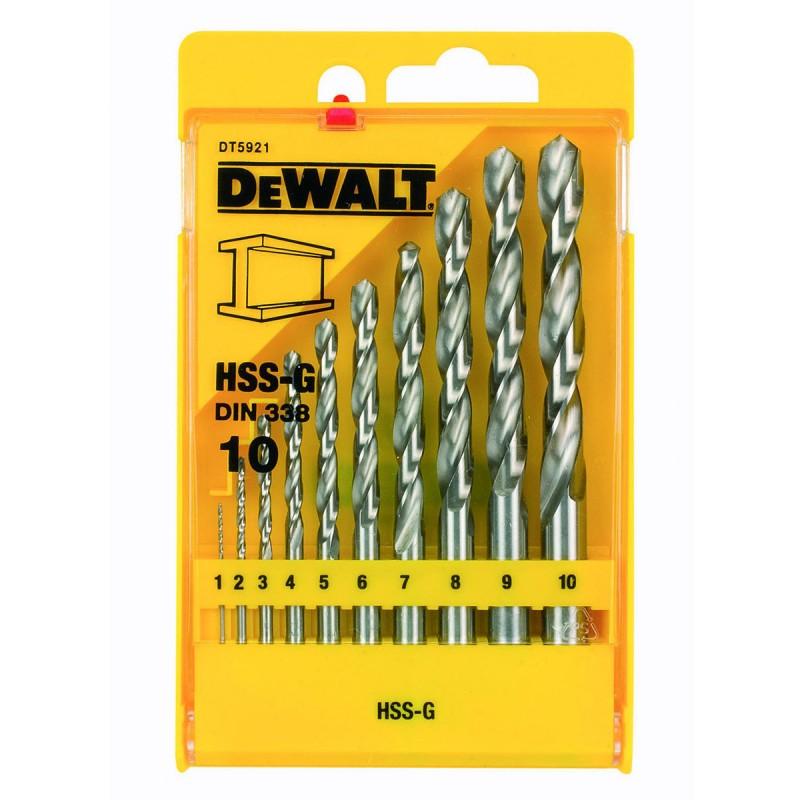 DEWALT DT5921 ბურღის პირების ნაკრები მეტალისათვის HSS-G (10 ც)