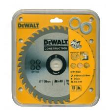 DEWALT DT1153 საჭრელი დისკი 190 x 30 x 40T (ხე/ხე-მასლა/სენდვიჩ-მასალა)