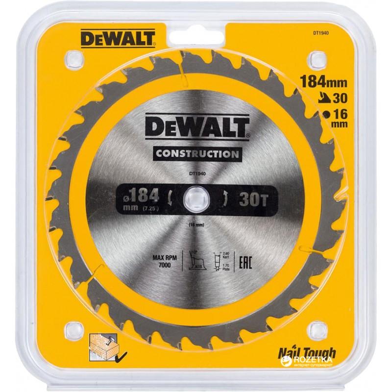 1.DEWALT DT1940 საჭრელი დისკი 184 x 16 x 30T (ხე / ხე-მასალა)