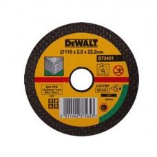 1.DEWALT DT3401 საჭრელი დისკი 115 X 2.5 X 22.2 მმ (ბეტონი/ქვა/აგური)