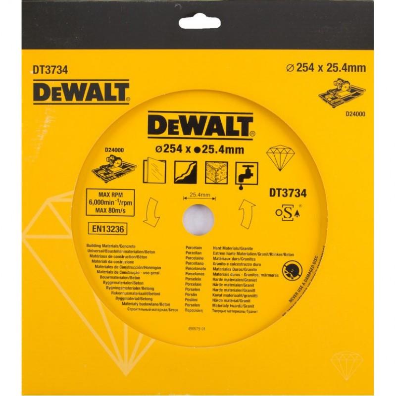 1.DEWALT DT3734 ალმასის საჭრელი დისკი 254 x 25.4 მმ (ქვა/კერამიკული ფილა)