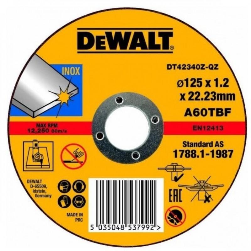 1.DEWALT DT42340Z საჭრელი დისკი 125 X 1,2 X 22.2 მმ (უჟანგავი ფოლადი)